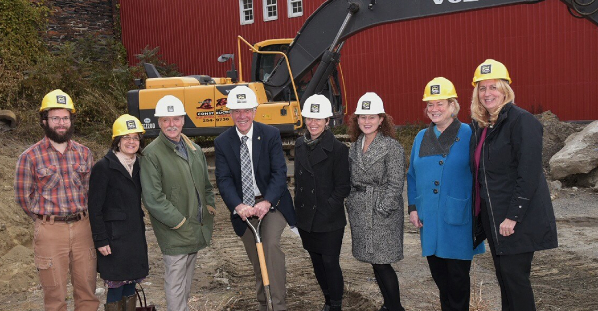 Pete Paggi,Ground Breaking for the Snow Block in downtown Brattleboro. L to R: Becca Balint, Gus Seelig, Gov. Scott, Elizabeth Bridgewater. Dana Harris photo