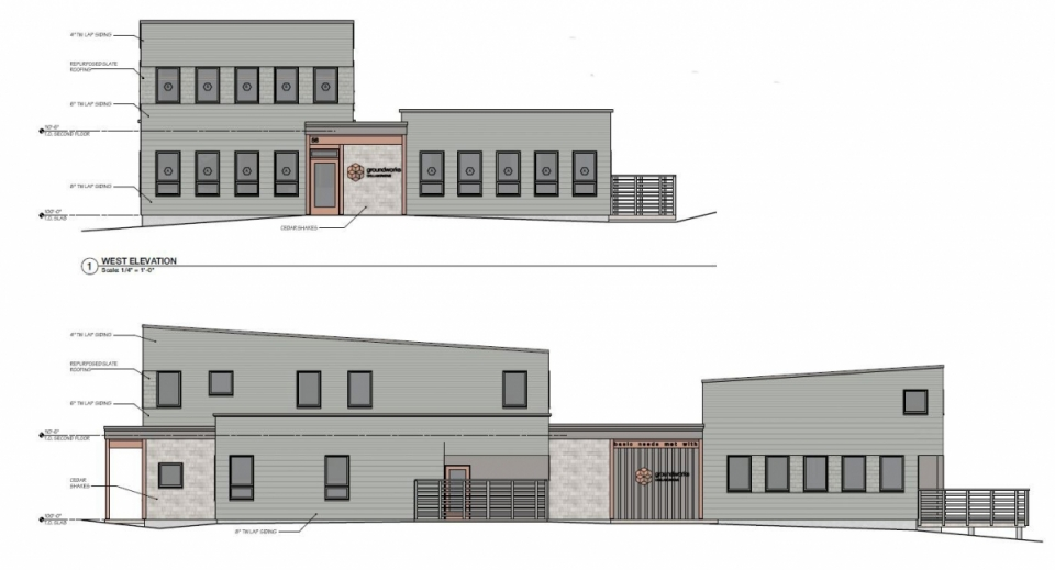 Architectural rendering of seasonal housing, drop-in center, day station and program and adminstrative offices for Groundworks Collarborative in Brattleboro